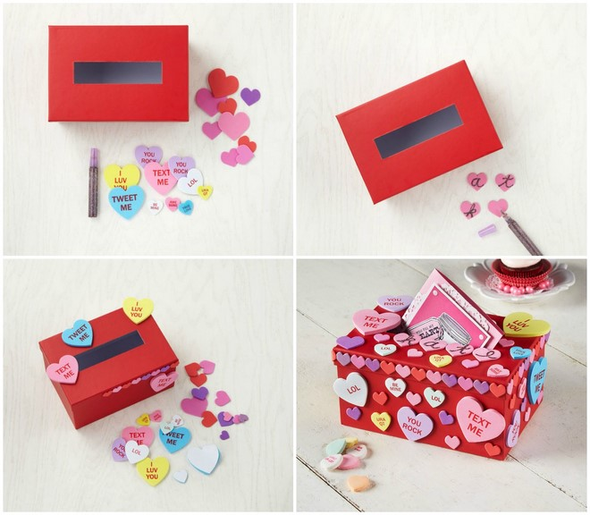colorful hearts shoebox decoration girl valentines day boxes