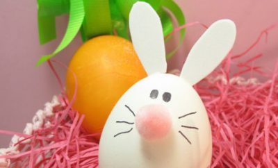 Bunny egg decoration Easter craft ideas for kids pompom nose