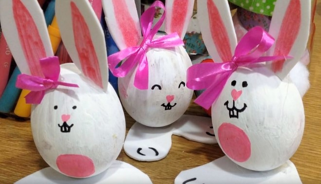 diy egg bunnies painted eggs kids
