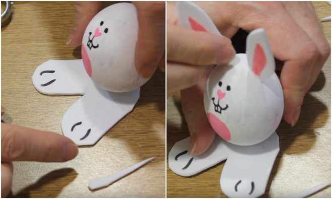 egg bunnies glue foam legs ears