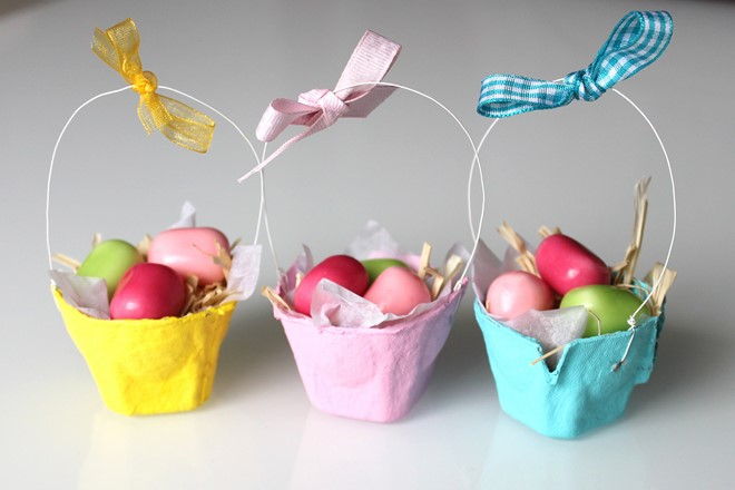 egg cartons mini baskets kids pastels
