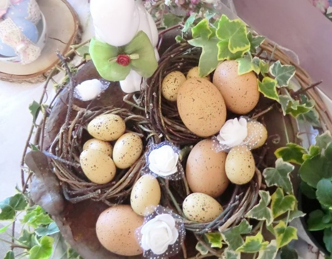 floral easter table decoration egg nests rustic