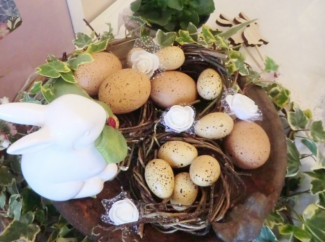 handmade easter egg nest - secure the willow branches with floral wire