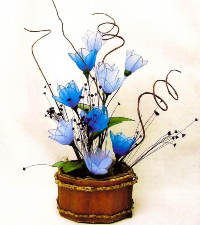 Flower craft ideas projects-gift-idea-blue-flowers