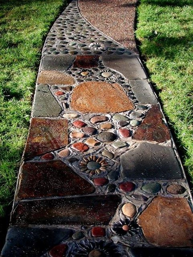 Brown pebble mosaic tile art stone plates river rock path diy garden