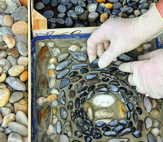 Diy Garden Pebble Mosaic Composition Press Stones Into