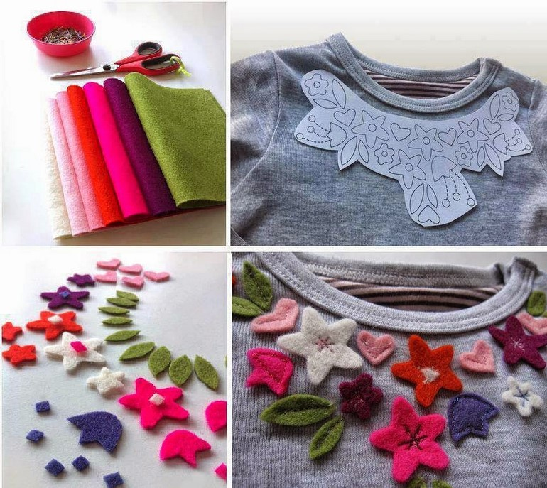diy-t-shirt-ideas-felt-flowers-decorating