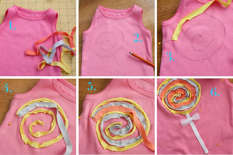 Diy T Shirt Ideas Kids Toddlers Lollipop Ribbons