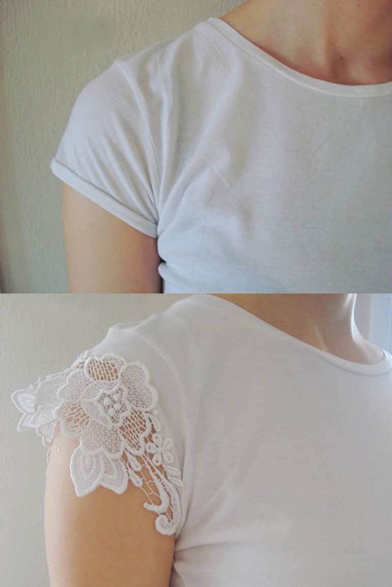 diy-t-shirt-ideas-lace-shoulder-plain-white-tee