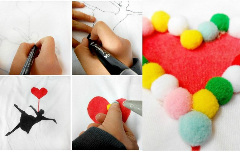 diy-t-shirt-ideas-sharpie-pompom-fun-creative