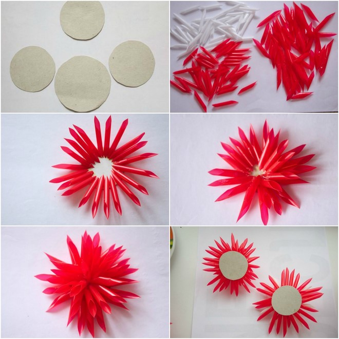 drinking straw crafts flowers-tutorial-preschoolers