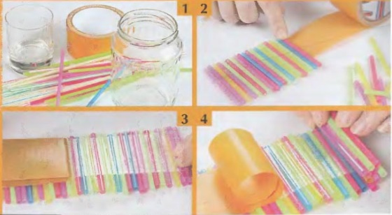 vase-drinking-straws-glass-jar-double-sided-tape-craft