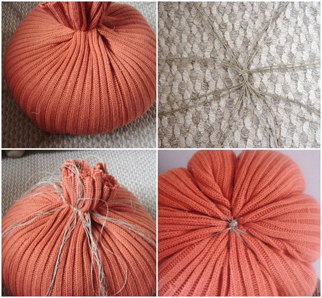how-to make-no-sew-pumpkin-old-sweater-fall-decor-yarn