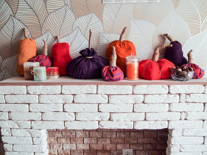 sweater pumpkins fireplace-mantel-display-decor-candles