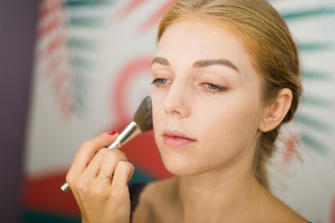 applying white foundation angel face