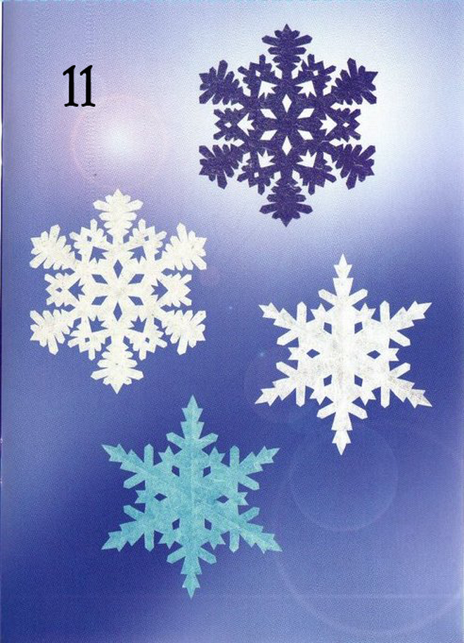 very simple paper snowflakes window decor white blue