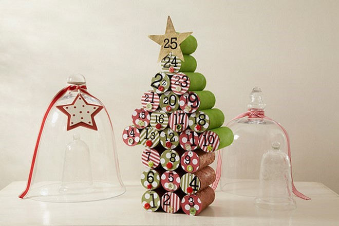 christmas tree homemade advent calendar with recycling toilet paper roll tubes