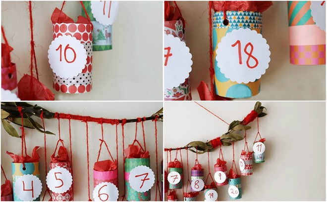 diy advent calendar idea toilet paper rolls small baskets