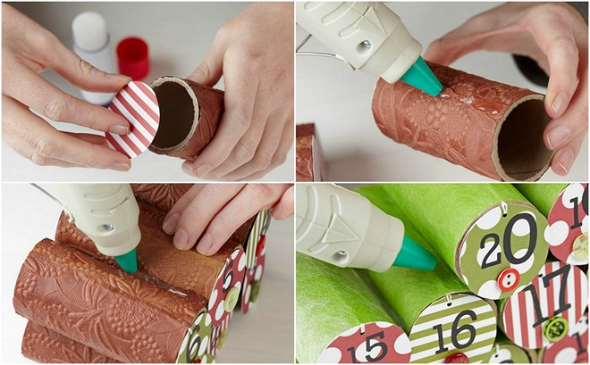diy christmas tree advent calendar ideas tutorial cardboard tubes and traets