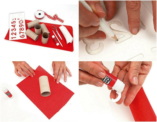 simple advent calendar ideas hanging toilet paper rolls wrapped with red tissue paper