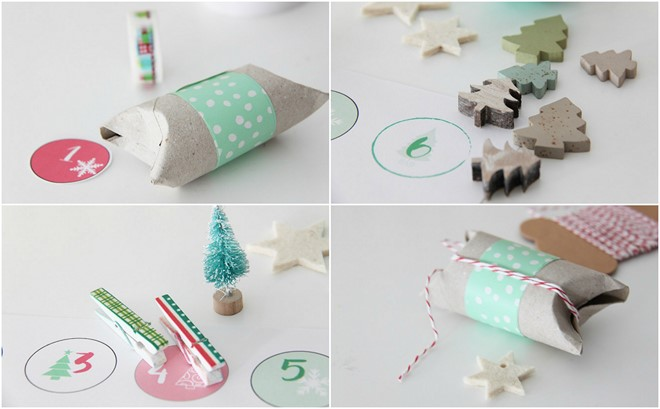 toilet paper rolls advent calendar gift packets decorative fir tree decoration