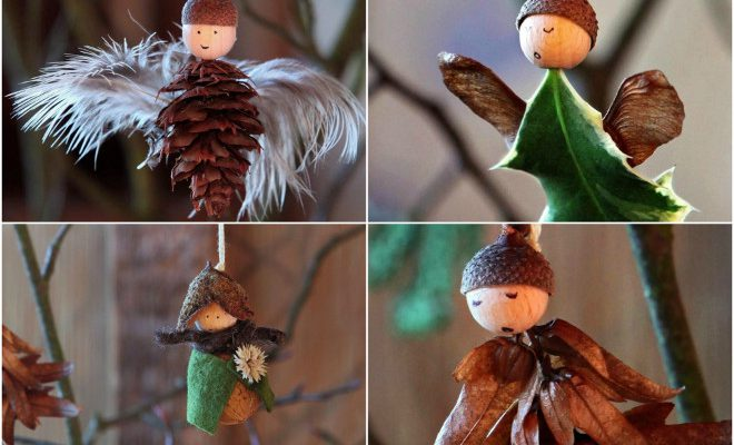 DIY Christmas angel ornaments made of natural materials