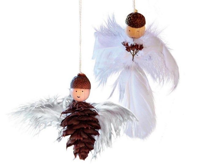 elegant angel christmas ornaments created from fir cone and white feathers