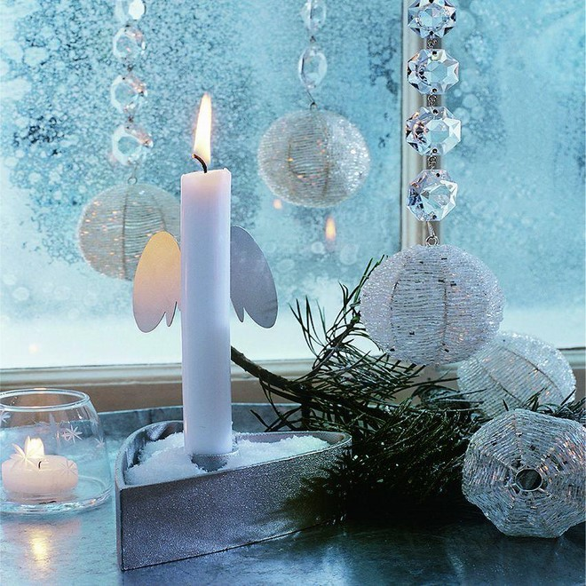 elegant festive christmas decor soft light aromatic candles and fir tree branches