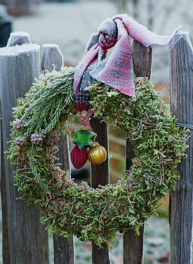 hanging outdoor christmas decor festive wreath of moss with tree ornaments and wide ribbon
