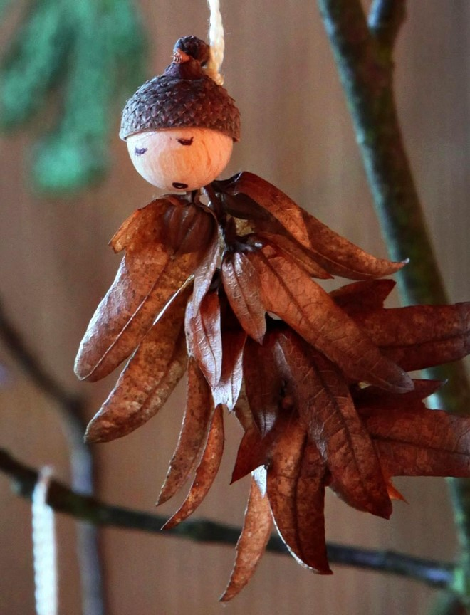 home decoration using lump of hops and acorn shells vintage christmas tree angel ornaments