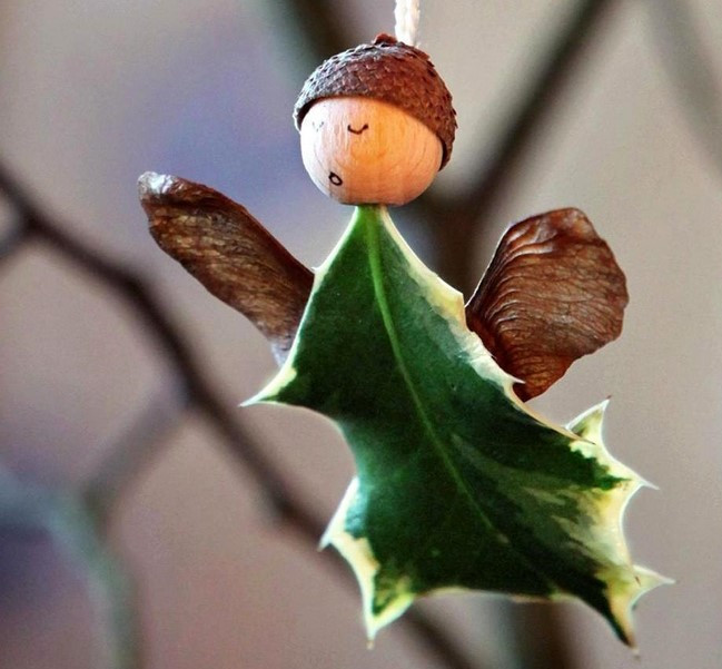 homemade christmas angel ornaments using wooden beads and holly leaves