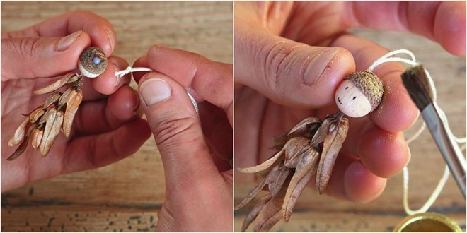 how to make angel christmas tree ornaments apply gold powder on the acorn shell
