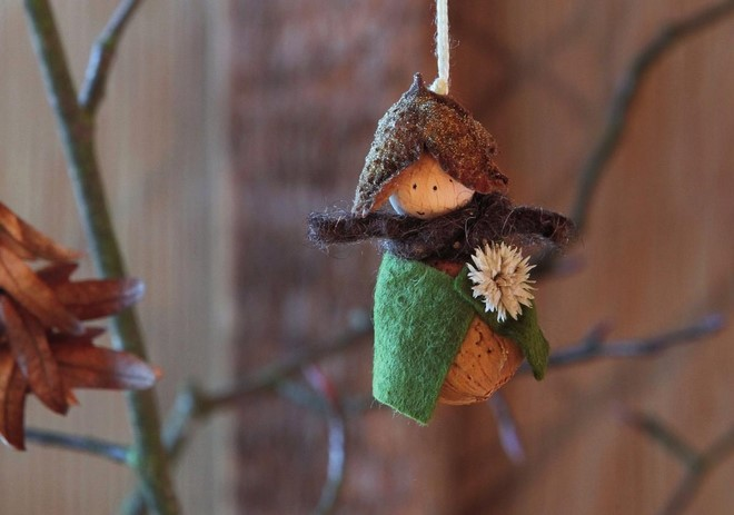 rustic angel christmas ornaments handmade cute almonds forest dwarf