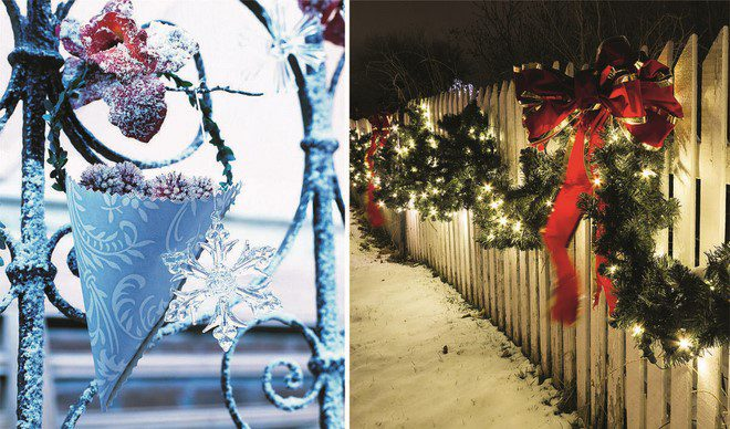 simple fence christmas decor festive hang up light garlands
