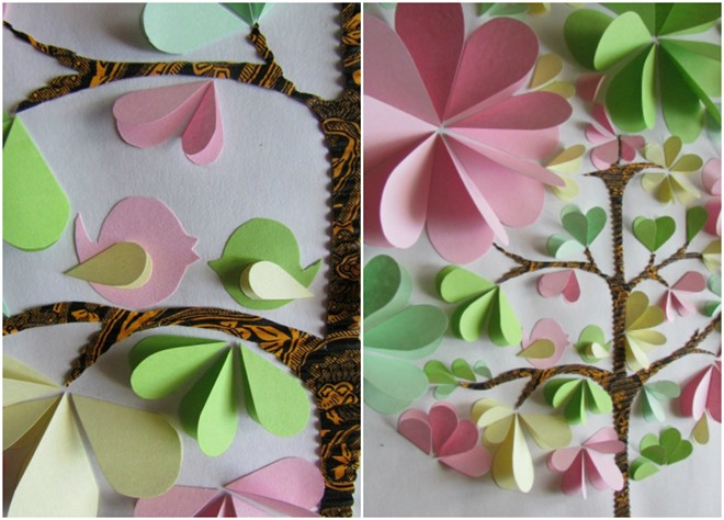 3d artwork colored paper tree love birds valentines day