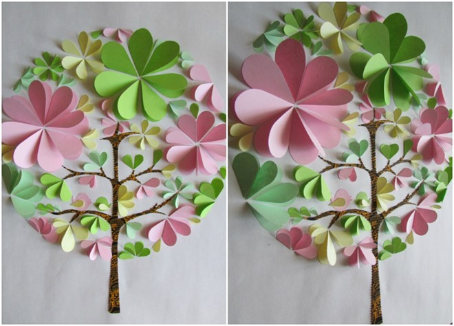 3d paper artwork design tree home decor kids simple