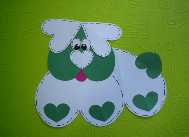 Animal Paper Crafts valentines day dog heart shapes