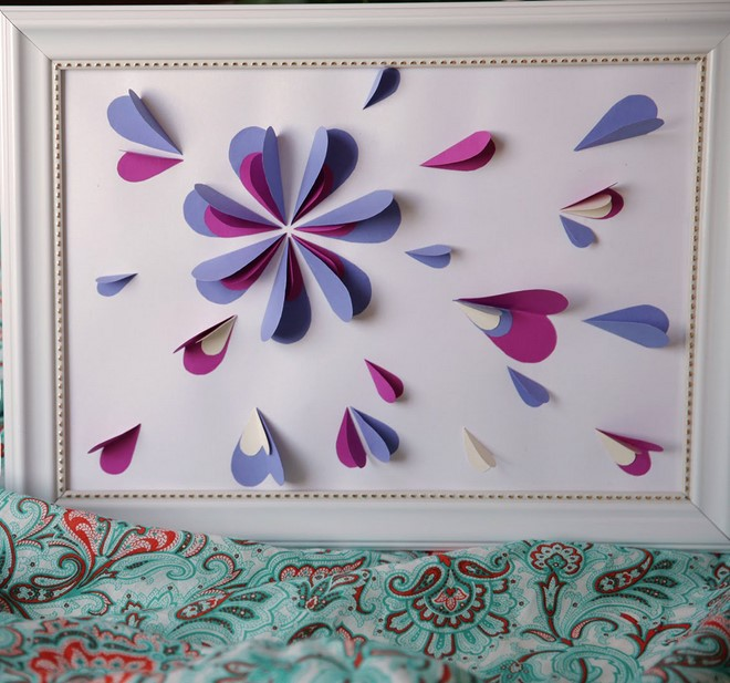amazing paper artwork pink purple flowers gift idea