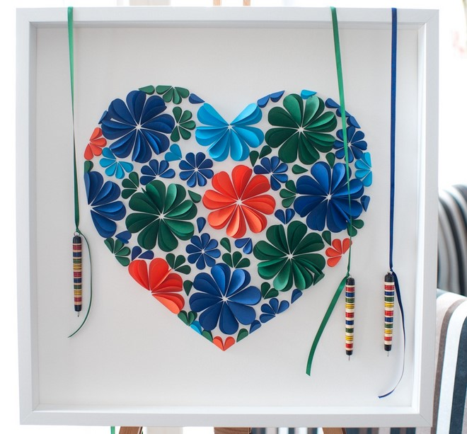 artwork using colored paper flowers hearts 3d white picture frame