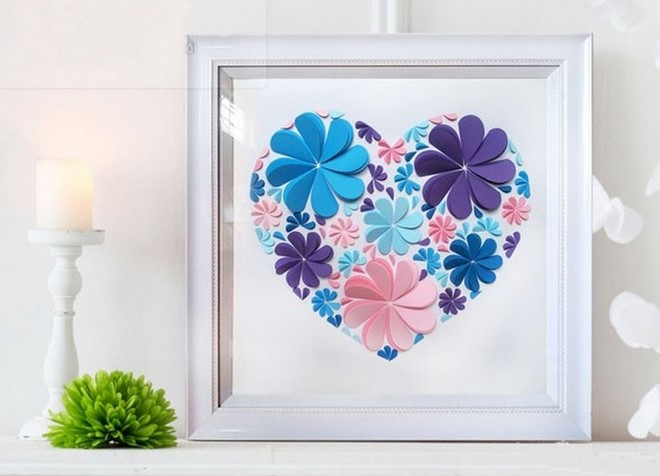 construction paper artwork frame heart