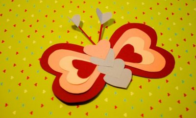 construction paper heart animals butterfly