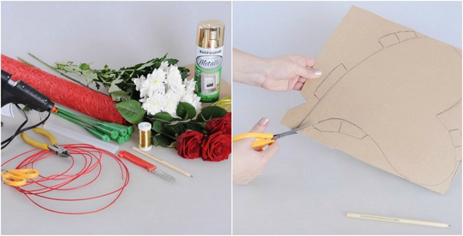 cut cardboard in the shape of a heart rose flower gifts for her