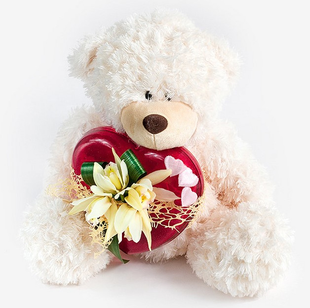 cute teddy bear with big heart romantic valentine's day flower gifts