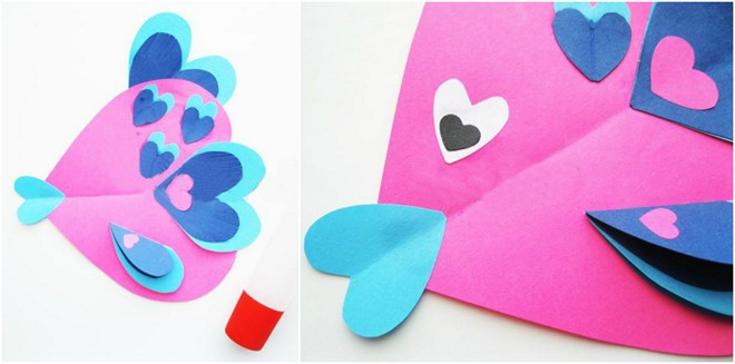 fish construction paper heart shapes