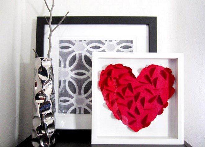 framed paper artwork 3d red heart valentines day gift