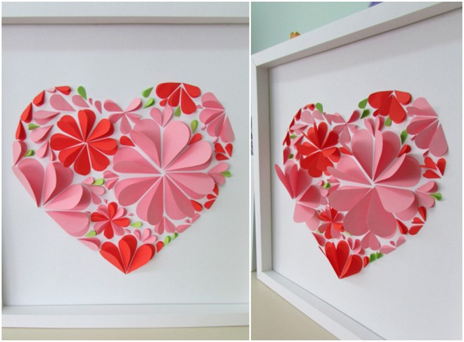 handmade paper artwork valentines day heart flowers for girlfriend