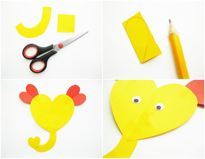 heart animals for preschoolers elephant yellow