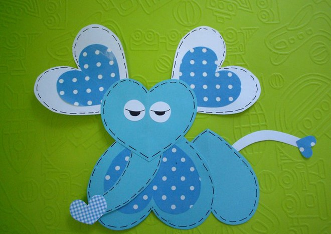 heart paper animals elephant blue