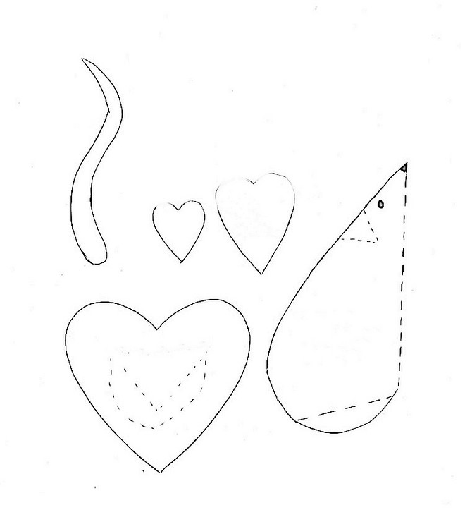 heart shaped animals templates mice