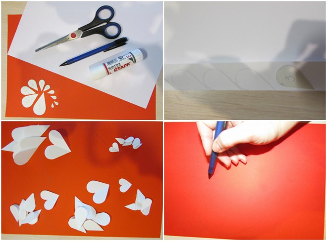 how to create paper artwork cut out heart shapes tutorial